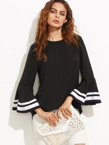 Shop Striped Trim Bell Sleeve Keyhole Back Blouse online. SheIn offers Striped Trim Bell Sleeve Keyhole Back Blouse & more to fit your fashionable needs. Collars For Women, Blouses For Women, Bell Sleeve Dress, Bell Sleeves, Vestidos Fashion, Fashion Dresses, Jumper Shirt, Woman Outfits, Stripes