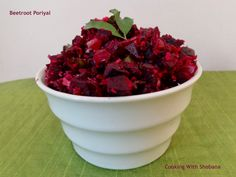 Beetroot Poriyal, from  Tamilnadu in India. A stir fry made with beetroot, served as a side dish.