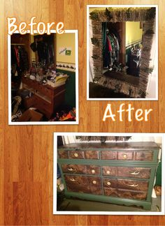 From old and drab to camo/outdoors with deer antler drawer pulls. Matching mirror with sticks and leaves brings the outdoors in. paint lime green and decopage camo to drawer fronts, antler pulls