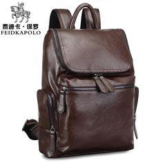 97f8c56a5a 2017 Brand Designer Men Leather Backpack Men's School Backpack Bag Bagpack  Mochila Feminina Black brown Travel Bag Shoulder bag