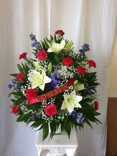 Red, White and Blue Funeral Basket www.candcsensationsflorist.com www.facebook.com/CandCSensations