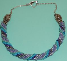 Bead crochet necklace of seed beads & sterling by Romancingtheneck, $150.00