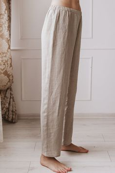 Long Linen Pajamas Pants Linen Pants With Elastic Waistband Pijamas Women, Casual Outfits, Fashion Outfits, Linen Trousers, Pants Pattern, Stylish Dresses, Lounge Wear, Just For You, Linen Fabric