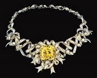 """'The Tiffany (128.54 Carat Canary Yellow) Diamond' was used in the design for this necklace worn by Audrey Hepburn in 'Breakfast at Tiffany's""""."""