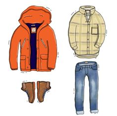 """rippedbackpocket: LOOK OF THE DAY #2 Another one of Andrew Mashanov's amazing illustrations. Additional fun fact #1: The shirt that we mention in this pieceis called """"Tinkering Twill"""", and it really does look like an old rag. """"Loves it"""" as Paris would have said. Additional fun fact #2: That puffer jacket came about when I put a jacket from SS11 on top of the down puffer from AW10 and went: """"That'll work, right?"""" """"Design"""" & evolution at it's finest. #Darwinism (""""Crazy ass wind"""", is that even…"""