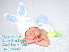 Baby bunny hat and diaper cover loom knitting pattern