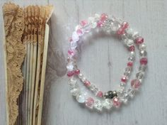 Faceted glass bead vintage necklace pink white crystal