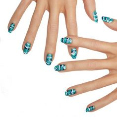 camo+waves+by+essie - with+this+camo-inspired+look,+your+nails+won't+be+blending+in+this+summer!