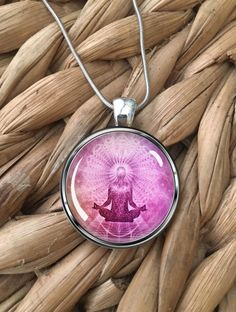 Yoga In Pink Pendant Necklace by MoonPoppyDesigns on Etsy