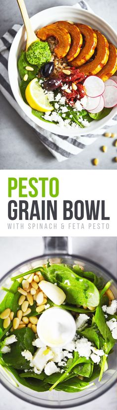 A satisfying bowl filled with whole grain farro, roasted squash and bright toppings like fresh spinach, sundried tomatoes and crumbled feta. Plus a unique spinach and feta pesto.