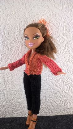 Bratz clothes. Black leggings and shaded orange jacket for Bratz doll. OOAK  trousers and sweater for doll. Hand knitted doll outfit. by Nobodyknitsitbetter on Etsy