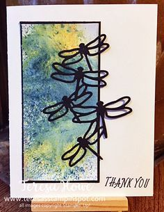 Brushos, Watercoloring, Dragonflies, Stampin' Up!, SU!, Thanks
