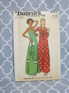 Cheapest Shipping. Vintage Halter Maxi Dress Pattern. Butterick 3615. Maxi Dress and Jacket Size 11/12 Junior or Teen by FashionSew on Etsy