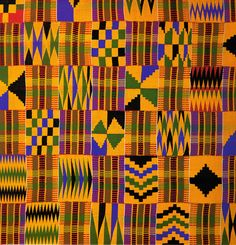 Kente cloth was develoed by the Akan people of West Africa. Many of Akan live in Ghana and Ivory Coast today. Traditionally the cloths were for sacred and royal occassions. They feature bold designs and bright colors, each of which bears meaning. African Quilts, African Textiles, African Fabric, African Patterns, African Symbols, African Colors, Ethnic Patterns, Japanese Patterns, Types Of Silk Fabric