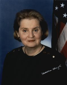 Madeleine Albright (May 15, 1937) was the first woman to become the United States Secretary of State. She was appointed by President Bill Clinton on Dec 5 1996, and was unanimously confirmed by a U.S. Senate vote of 99–0. Albright currently serves as a Prof. of International Relations at Georgetown University's Walsh School of Foreign Service. She has a PhD from Columbia University. Albright is fluent in English, French, Russian, and Czech; she speaks & reads Polish and Serbo-Croatian as wel...