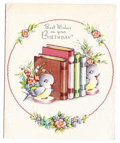 Chubby Bluebird Bookends ~ Vintage Birthday Greeting Card ~ Unused