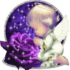 Angels with purple roses