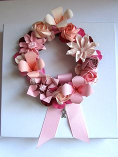 Pink Origami Flower Hope Ribbon Wreath