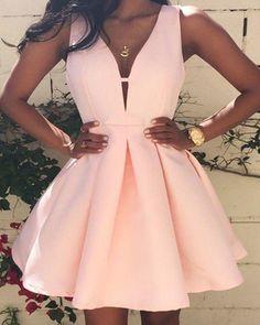 Knee Length V Neck Short Party Dres Homecoming