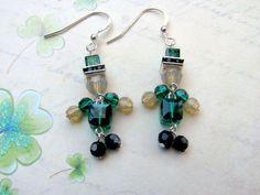 Leprechaun Earrings Swarovski Earrings Irish Earrings St. Patrick's Day Earrings Green Earrings St. Patrick's Day Jewelry Leprechaun