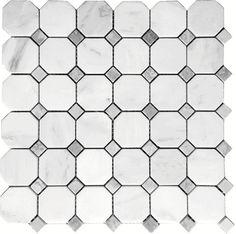 "Carrara (Carrera) Venato 2"" Octagon Bardiglio Dot Honed Mosaic Tile (Free Shipping)"