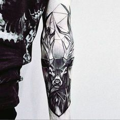 Abstract Deer Tattoos For Men On Inner Forearm