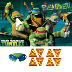 Prepare your little Ninja warriors for a pin the tail style battle to feed the half-shelled turtle heroes their favorite meal! The Teenage Mutant Ninja Turtles Birthday Game offers a creative spin from the classic game. A 37.5 inch x 24.5 inch poster features goofy images of Raphael, Leonardo, Michelangelo and Donatello eating their favorite food obsession.  The game poster features a headline that reads Pizza Power in the upper corner, while the bottom features the TMNT signature logo. A…