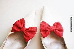 So cool! - Red Bow Shoe Clips   CHECK OUT MORE GREAT RED WEDDING IDEAS AT WEDDINGPINS.NET   #weddings #wedding #red #redwedding #thecolorred #events #forweddings #ilovered #purple #fire #bright #hot #love #romance #valentines