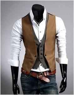 mobile site-Fashion plaid faux two piece male slim vest male tank tops vest undershirt beer for men singlet Mens Suit Vest, Mens Suits, Waistcoat Men, Mens Attire, Casual Tops, Men Casual, Casual Suit, Mens Vests Casual, Smart Casual