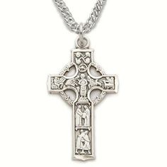 "Sterling Silver 1"" Engraved Celtic Cross Necklace with Panel Figures on 20"" Chain TrueFaithJewelry,http://www.amazon.com/dp/B002RNDNAW/ref=cm_sw_r_pi_dp_hwcBsb08Q3QPPNSD"