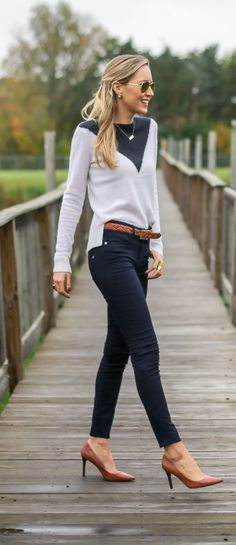 casual friday: skinny jeans, brown braided belt and pumps, two-town chevron navy white sweater + plaid maxi coat  |  http://www.theclassycubicle.com/2014/10/casual-friday.html