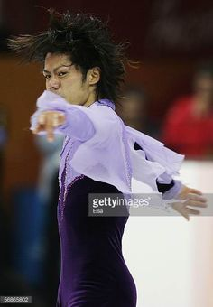 Daisuke Takahashi of Japan competes in the Men's Free Skate Program Final during Day 6 of the Turin 2006 Winter Olympic Games on February 16 2006 at...
