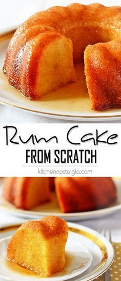 Rum Cake from Scratch is dense, rich and soaked with flavorful thick butter rum sauce. Great for every party! - kitchennostalgia.com