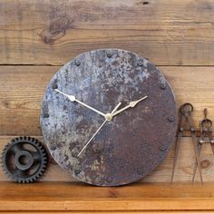 Industrial Rusty Metal Wall Clock by Reclaimed Time