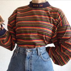 Vintage the sweater shop striped sweatshirt || very good condition || fits like an L || follow my insta for free postage || ignore ### wavy retro vintage 00s 90s 80s y2k jumper sweater rainbow high neck