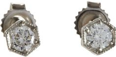 Cathy Waterman Diamond & Platinum Hexagonal Stud Earrings on shopstyle.com