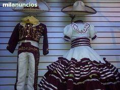 TRAJE CHARRO Y VESTIDO NIÑOS Dama Dresses, Quinceanera Dresses, Prom Dresses, Charro Outfit, Slacks Outfit, Vestido Charro, Mexican Themed Weddings, Mexican Dresses, Mexican Party