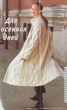 - To all who knit, I give old ideas for new work - Learn Knit Cardigan Pattern, Crochet Cardigan, Long Cardigan Coat, Knit Art, Angora Sweater, Mode Boho, Knitwear Fashion, Coat Patterns, Knitted Poncho