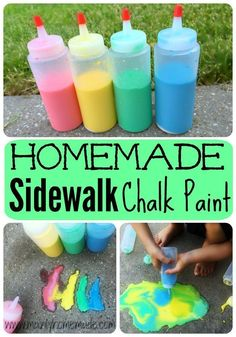 Easy Homemade Sidewalk Chalk Paint. Make outside fun with this easy to make sidewalk chalk paint for kids! #homemade #sidewalk #chalk #paint #summer #camp #sidewalkchalk #DIY #ChalkPaint #SidewalkPaint