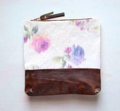 W A T E R C O L O R Floral Leather Clutch by GiftShopBrooklyn