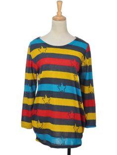 Anna-Kaci Free Size Fun Multicolored Stripe Pattern Stamped Stars Sweater Dress