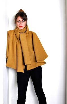Cape in Mustard Yellow, with Neck Tie