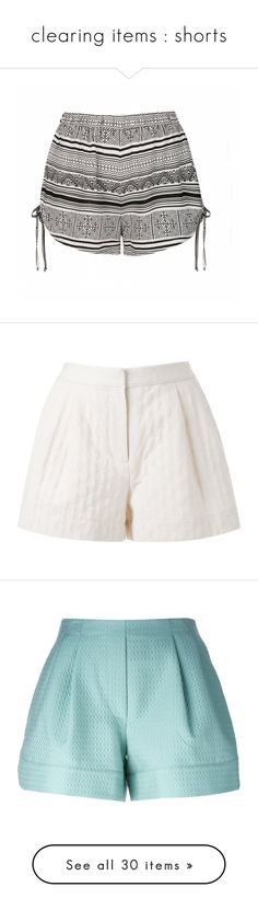"""""""clearing items : shorts"""" by lonelyhearts-clubb ❤ liked on Polyvore featuring shorts, bottoms, print, print shorts, aztec shorts, aztec print shorts, short shorts, patterned shorts, white and white shorts"""