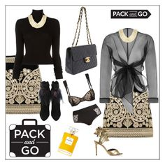 """""""Pack & Go"""" by frenchfriesblackmg ❤ liked on Polyvore featuring For Love & Lemons, BLK DNM, Bianca Elgar, Vivienne Westwood, BCBGMAXAZRIA, STELLA McCARTNEY and Chanel"""