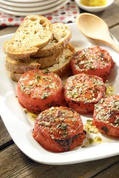 Broiled Tomatoes in Basil Vinaigrette Recipe   Get the most from your end-of-season harvest! Broiling tomatoes concentrates their natural sugars, making summer tomatoes even better.
