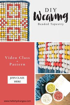 Join me for this beaded tapestry tutorial. We will turn any full-size regular loom into a beading loom to create a large-scale bead weaving project! The class includes a full video with instructions, plus 3 patterns to choose from and links to learn how to dye your own wooden beads to get the colors you want. #hellohydrandgea #weavingart #weavingtutorial #weavingtechnique Weaving Projects, Weaving Art, Craft Blogs, Diy Projects For Beginners, Weaving Techniques, Wooden Beads, Cross Stitching, Needle Felting, Hydrangea
