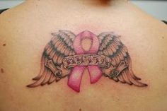 cancer ribbon tattoos pictures - one half for cancer and other for heart disease .love it