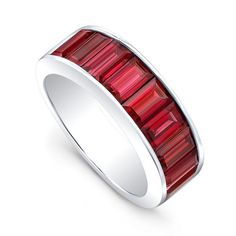 Alexandra Jules' handcrafted 'Classic RubyBaguette Band' is the brand's ambassador. The 18-karat gold band is set with 3.5-carats of vibrant Burmeserubies. Gi