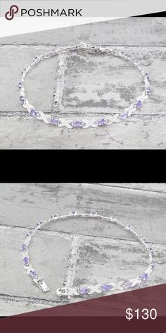 "925 SS amethyst & Genuine Diamonds tennis bracelet Stunning!!! 925 Sterling Silver amethyst & Genuine diamonds infinity tennis bracelet 10g 9.25"" long 925 Jewelry Bracelets"