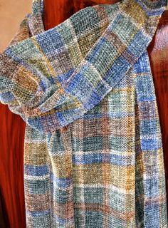 Soft Warm Long Men's Scarf, Hand Woven Plaid Chenille, Blues & Neutrals